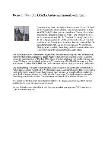 Bericht über die OSZE-Antisemitismuskonferenz - MIK NRW ...