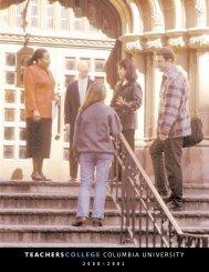 TEACHERS COLLEGE - Academic Catalog - Columbia University