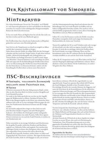 Der Kristallomant von Simorenia NSC-Beschreibungen Hintergrund