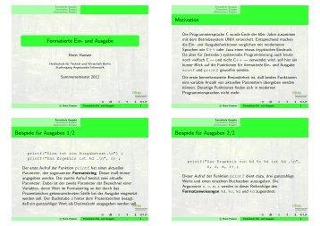 Formatierte Ein- und Ausgabe