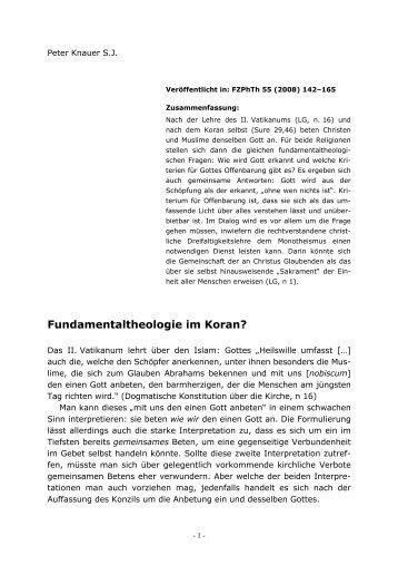 Fundamentaltheologie im Koran? - Peter Knauer