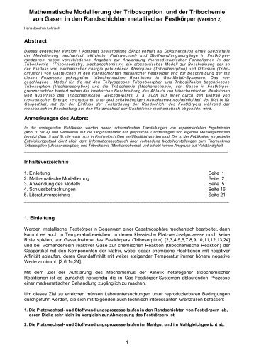 Mathematische Modellierung der Tribosorption und der Tribochemie ...