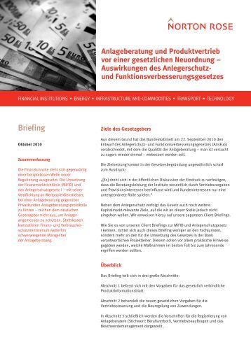 Anlegerschutz- und Funktionsverbesserungsgesetz ... - Norton Rose