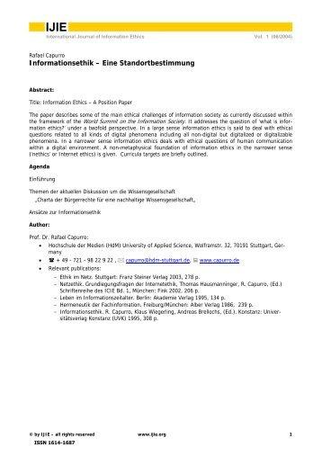 Informationsethik – Eine Standortbestimmung - International Review ...