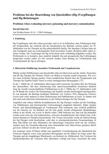 Probleme bei der Beurteilung von Quecksilber-(Hg ... - GTFCh