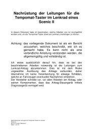 Nachrüstung der Leitungen für die Tempomat ... - Scenic-Forum.de