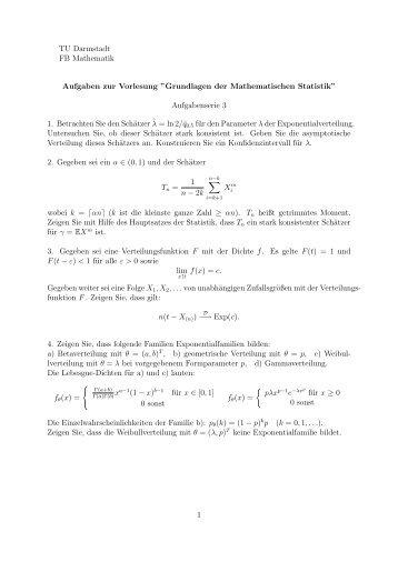 """Grundlagen der Mathematischen Statistik"""" Aufgabenserie 3 1 ..."""
