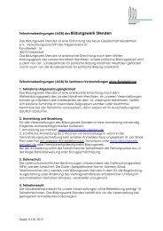 Teilnahmebedingungen / AGBs - Bildungswerk Stenden