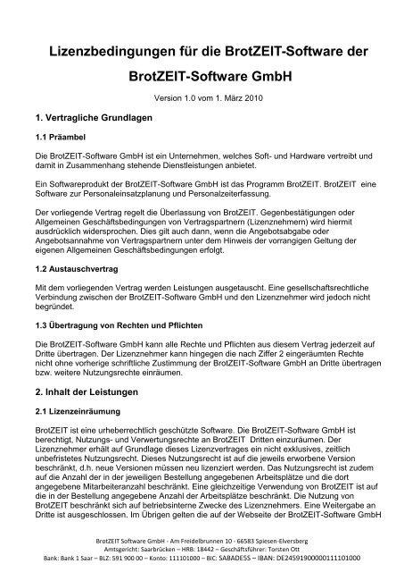 Lizenzbedingungen Für Die Brotzeit Software Der Brotzeit Software