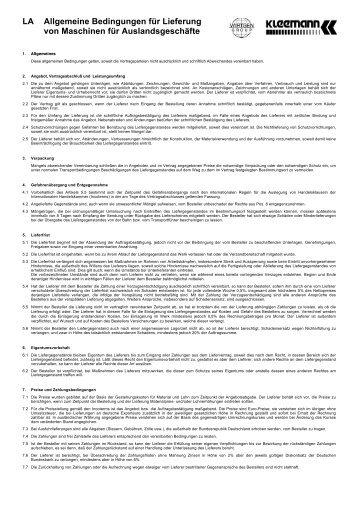 LA Allgemeine Bedingungen für Lieferung von ... - Kleemann
