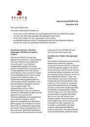 Aktionärsbrief SPARTA AG Dezember 2010 Sehr geehrte Aktionäre ...