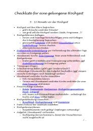 Checkliste für eine gelungene Hochzeit