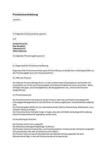 muster provisionsvereinbarung canis carpe diem - Provisionsvereinbarung Muster