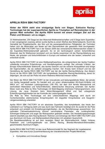 APRILIA RSV4 SBK FACTORY - Moto Sport Schweiz