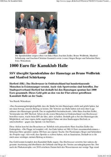 Spendenaktion Westfalenblatt 22.6.13 - Stadtsportverband-herford.de