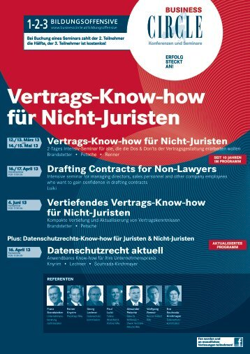 Business Circle Seminar (Vertragsknowhow, Mai 2013) - Renner Law