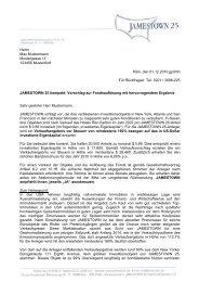 Köln, den 01.12.2010 jg/dmh Für Rückfragen: Tel ... - Jamestown