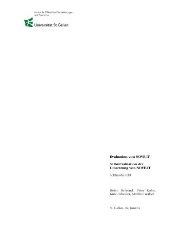 Evaluation von NOVE-IT Selbstevaluation der Umsetzung ... - SEVAL