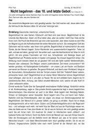 Nicht begehren - das 10. und letzte Gebot(Text: 2 Mose ... - Pfimi Thun