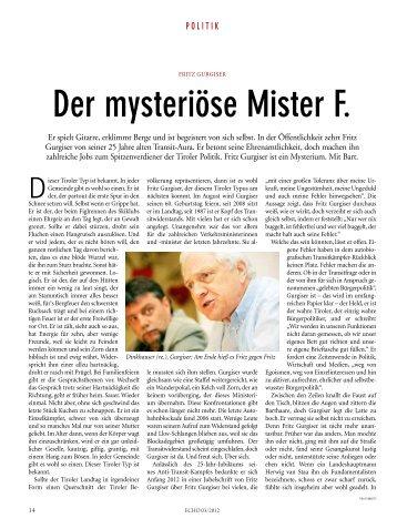 Der mysteriöse Mister F. - Liste Fritz