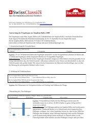 Auswertung der Fragebogen zur Jungfrau-Rallye 2008
