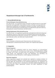 Hauptstossrichtungen der 5 Fachbereiche - VOJA