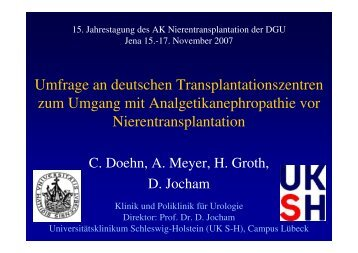 Umfrage an deutschen Transplantationszentren zum Umgang mit ...