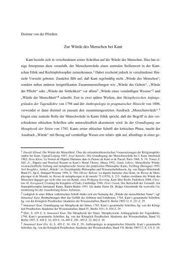 Zur Würde des Menschen bei Kant - Prof. Dietmar von der Pfordten