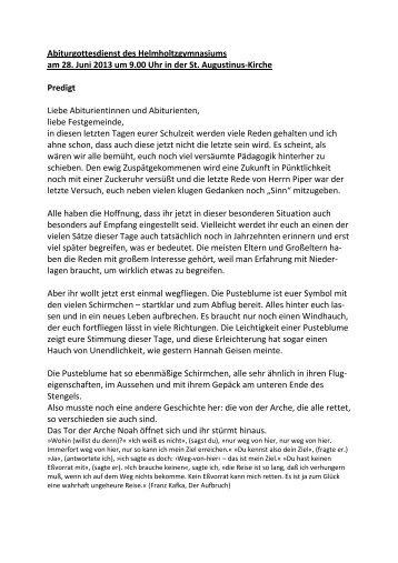 Predigt von Pfarrerin Frau Gruß - Helmholtz Gymnasium Bonn