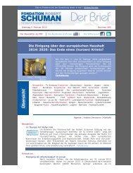 Der Newsletter als PDF - La Fondation Robert Schuman