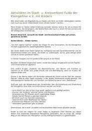u. Kreisverband Fulda der Kleingärtner eV mit Kindern