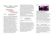 Theater Programm 2013/14 Kulinarisches Amüsantes Literarisches