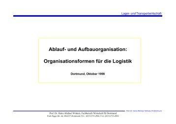 Organisationsformen für die Logistik - Prof. Dr. Heinz-Michael Winkels