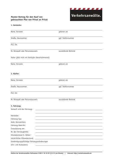 Muster Kaufvertrag Für Den Gebrauchtwagenkauf Verkauf