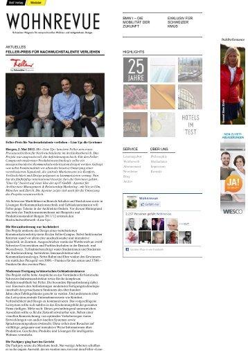 Wohnrevue 02.05.2012 Feller-Preis für Nachwuchstalente ... - YAAY