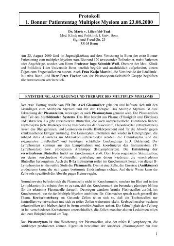 Protokoll 1. Bonner Patiententag Multiples Myelom am ... - Myelom.net