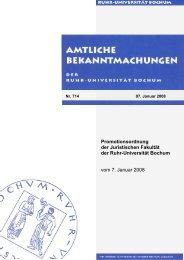 Promotionsordnung - Juristische Fakultät - Ruhr-Universität Bochum