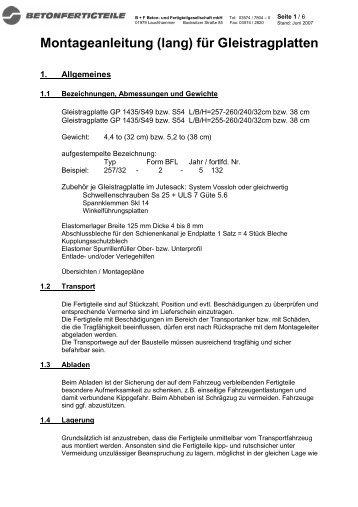 Montageanleitung GTP lang_BFL - B+F Beton- und ...