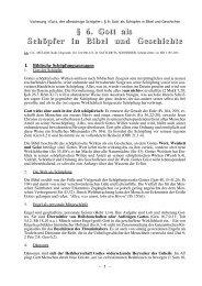 § 6. Gott als Schöpfer in Bibel und Geschichte - Theologie-Skripten