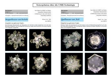 Testergebnisse über die UMH-Technologie - WESA-Wasser