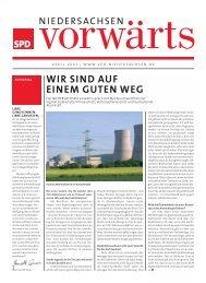 Ausgabe April 2007 des Niedersachsen-vorwärts als pdf-Datei.