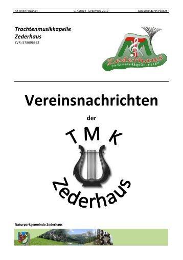 Vereinsnachrichten Dezember 2010 - Trachtenmusikkapelle ...