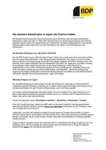 Die atomare Katastrophe in Japan als Chance nutzen - BDP Luzern