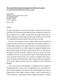 The early theoretical development of Konrad Lorenz - University of ...