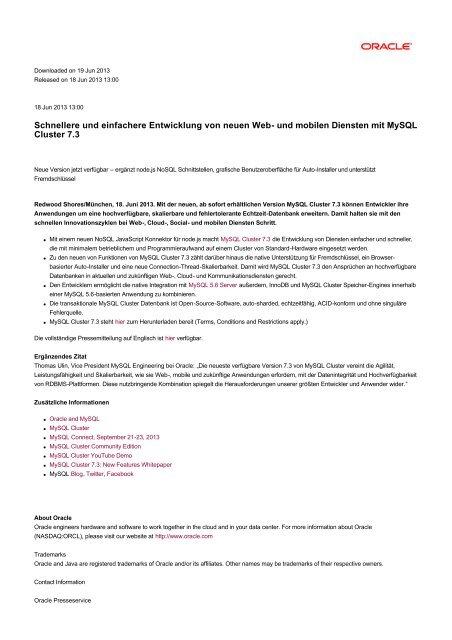 und mobilen Diensten mit MySQL Cluster 7.3