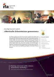 «Wertvolle Erkenntnisse gewonnen» - ifa International Fire Academy