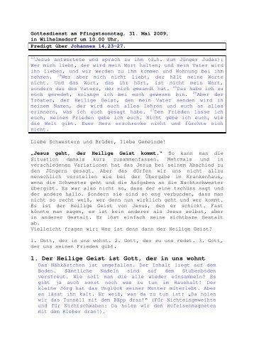 31.05 Johannes 14, 23-27 Pfingstsonntag (PDF) Pfr