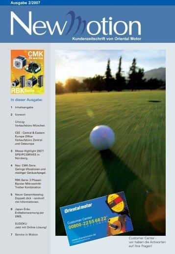 Ausgabe 2/2007 Kundenzeitschrift von Oriental Motor