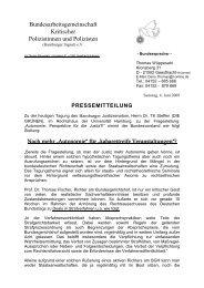 Pressemitteilung vom 6. Juni 2009 - Kritische Polizisten