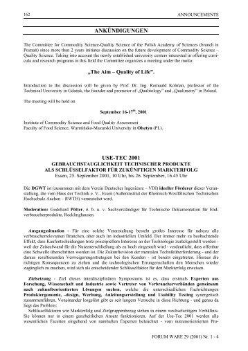 ANKÜNDIGUNGEN USE-TEC 2001 - Forum Ware - Wirtschaftsuniversität Wien